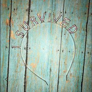"""I SURVIVED"" rhinestone headband"